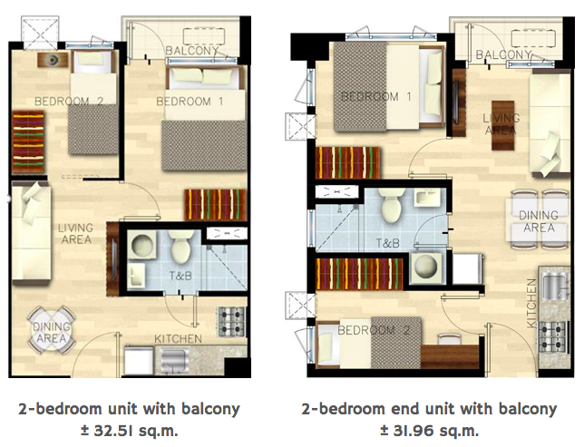 Bloom Residences 2 Bedroom Unit Layout